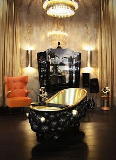 Bathroom Ideas   Newton Bathtub, Palace Display Case, Vellum Wall Light from Maison Valentina and Sika Wing Chair from Brabbu See more: https://www.brabbu.com/en/all-products.php