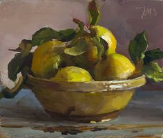 daily painting titled A bowl of quinces - click for enlargement