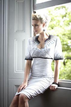 A really elegant wedding guest dress and bolero jacket by Bel Air from Ian Stuart London.