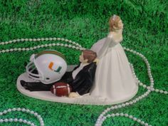 College Football University Of Miami Hurricane Anxious Bride pulling Groom Sport Fan Fun Wedding Cake topper-1