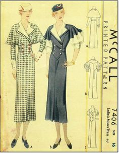 McCall #7406 - 1930s Ladies Dress With Optional Capelet and Button Front - Sewing Pattern