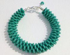 Kumihimo perlée turquoise tressé Bracelet