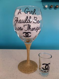 Glittered Classy and Fabulous Coco Chanel by MissGlamGlass on Etsy, $25.00