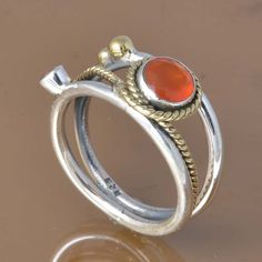 RED ONYX 925 SOLID STERLING SILVER EXCLUSIVE RING 6.29g DJR7461 #Handmade #Ring