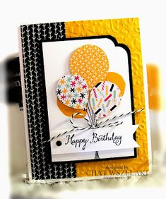 handmade birthday card from Me, My Stamps and I: Balloon Celebration ... punched balloon bouquet focal interest .. luv the vibrant color combo of black, white and yellow ... Stampin' Up!