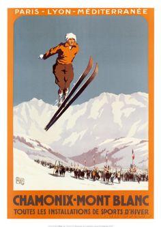 Chamonix - Mont Blanc Vintage Poster (artist: Alo) France c. Vintage Ski Posters, Retro Poster, Poster S, Poster Prints, Art Prints, Evian Les Bains, Chamonix Mont Blanc, Pub Vintage, Travel Ads