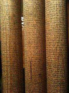 """Charlene Matthews, a Los Angeles based artist and bookbinder, set out on October 30, 2011 to write the entirety of the first edition of James Joyce's Ulysses, typos and all, on seven foot by two inch wooden ship dowels.   James Joyce's """"Ulysses"""" Into A Forest Of Words http://ht.ly/sn3vR."""