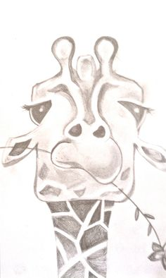 Funny Giraffe Drawing. by BunnytheDuck on Etsy, Animal Sketch / Drawing Illustration Inspiration