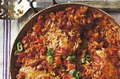 Baked chicken jambalaya A recipe revived from an 1984 issue of Woman's Weekly. This chicken can be cooked in a casserole or paella pan. A great tasty and spicy one-pot meal for the whole family Chicken Jambalaya, Jambalaya Recipe, Ways To Cook Chicken, Chicken Recipes, Duck Recipes, Low Calorie Recipes, Healthy Recipes, Healthy Meals, Healthy Food