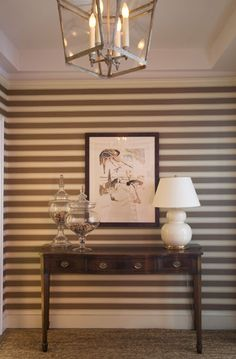 Horizontal stripes- easy visual panache!  Interior design by Amanda Nisbet