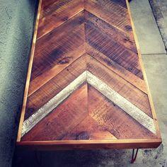 wood herringbone table top | Reclaimed Barn wood Chevron arrow herringbone COFFEE, dining, entry ...