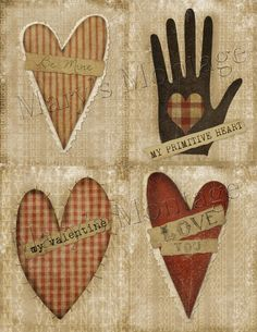 Primitive+Hearts+valentine+card+making+download+by+MarysMontage,+$2.00