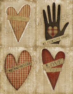 Primitive Hearts valentine card making download by MarysMontage, $2.00