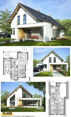 Modern Bungalow Exterior, Bungalow House Design, Modern Farmhouse Exterior, Dream House Exterior, Small Modern House Plans, Modern Small House Design, Modern Villa Design, Country House Plans, Dream House Plans