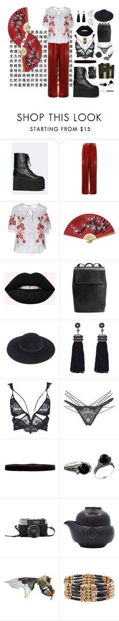 """""""the sky is pink when I'm on ecstasy in tokyo"""" by onlyethical ❤ liked on Polyvore featuring Bianca Spender, For Love & Lemons, Nush, Steve Madden, Vanessa Mooney and Cambio"""