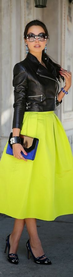 Yellow neon skirt | Fashion and styles. Nice pop of #color in this edgy twist on classic #fashion.