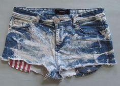 "Forever 21 denim Shorts 28 6 Flag Bleach Wash Destroyed cutoff Stars Stripes 2""  #Express #Denim"