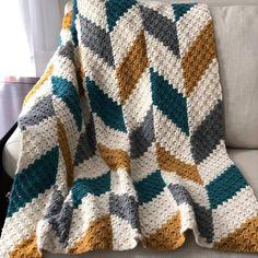 Herringbone Blanket Corner to Corner Written Crochet Crochet Blanket Patterns, Baby Blanket Crochet, Crochet Stitches, Crochet Hooks, Crochet Baby, Knit Crochet, Knitting Patterns, Modern Crochet Blanket, Crochet Boy Blankets