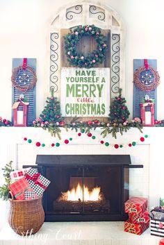 merry christmas farmhouse mantel worthing court cabin christmas decor christmas mantels family - Pinterest Decorating Mantels For Christmas