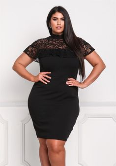 Plus Size Clothing | Plus Size Ruffle Lace Bodycon Dress | Debshops