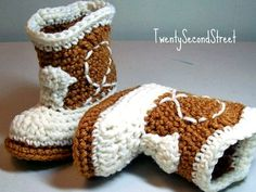 Cowboy Baby  Booties   Warm Brown & Natural  by TwentySecondStreet, $16.00