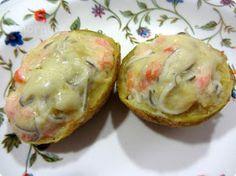 El Puchero de Morguix: Patatas gratinadas rellenas de salmón y gulas