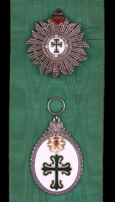 Portugal, Kingdom, Order of Avis, A Late 19th Century Grand Cross set of Insignia, by Souza, Lisbon, sash Badge, 85mm x 57mm, silver, gold appliqué, and enamel; Star, 70mm, silver and enamel, maker's cartouche on reverse, extremely fine, with full sash riband