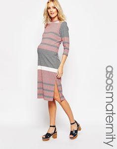 ASOS Maternity Column Midi Dress In Knitted Coloured Stripe