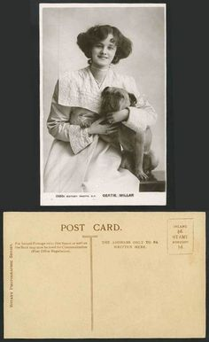 Edwardian Actress Miss GERTIE MILLAR & BULL DOG Bulldog Old Real Photo Postcard