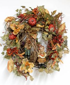 Two Adorable Primitive Pilgrims, Thanksgiving Wreath Pilgrims Thanksgiving, Thanksgiving Blessings, Thanksgiving Wreaths, Fall Wreaths, Wreath Crafts, Wreath Ideas, Favorite Holiday, Fall Halloween, Halloween Decorations