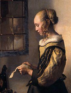 Girl Reading a Letter at an Open Window [detail: : Johannes Vermeer : Art Scans Johannes Vermeer, Delft, Dutch Artists, Famous Artists, Vermeer Paintings, Baroque Painting, Dutch Golden Age, Dutch Painters, Girl Reading