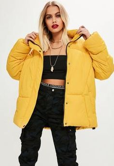 Image result for yellow puffer jacket outfit