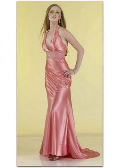 Wholesale Casrin Bridal Taffeta Floor Length Prom Dresses with Halter Top Neckline and Sweep Train in the Color of Light Coral and Zipper Up Back Style