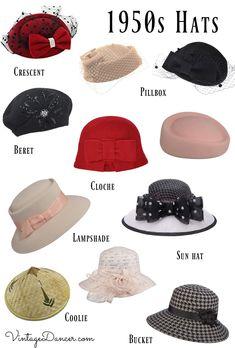 1950s hats, 50s hats, pinup hats, vintage hats, pillbox, tea hats, fascinator hats, sun hats at VintageDancer