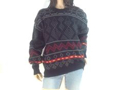 80s Tribal Chunky sweater / Grey and black by sixcatsfunVINTAGE