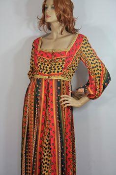 Vtg 1960 70s Empire Hippie Maxi Dress Jay Morley 4 Fern Violette California Gown | eBay