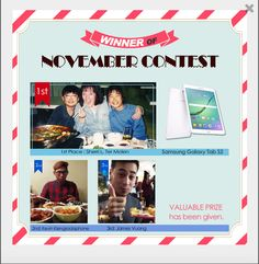 "I won first place in Kfriend.org's November 2015 K-Contest for my video about Korean food! My prize was a Samsung Galaxy Tab S5 8.0""!"
