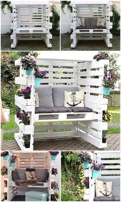 Wood Pallet Enclosed Seating Area with Comfy Cushions – Garden Furniture – Garden Projects Diy Garden Furniture, Diy Pallet Furniture, Diy Pallet Projects, Outdoor Projects, Furniture Ideas, Rustic Furniture, Antique Furniture, Wood Projects, Furniture Stores