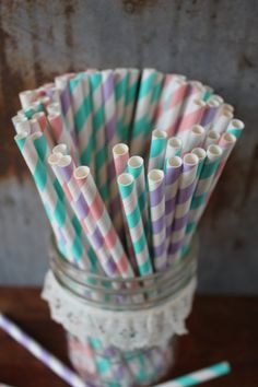 Vintage Paper Straws -- Paper Drinking Straws in Pink, Aqua, Lavender -- Pretty!