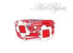 Leather Bracelet, Zamak Bracelet, Red Bracelet, Flower Bracelet, Modern Bracelet, Red Leather Bracelet, Women Gift, Gift Her, Gift Idea