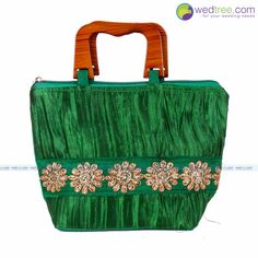 Hand Bag - Crushed Design with Wooden Handle