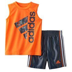 Baby Boy Adidas Sleeveless Graphic Tee & Shorts Set, Size: 24 Months, Brt Orange