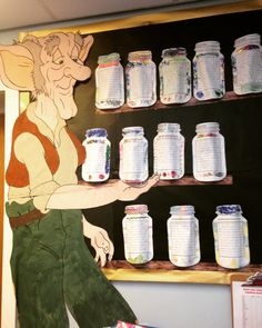 Ronald Dahl big dream jar display for world book day 2016 Year 3 class literacy lesson