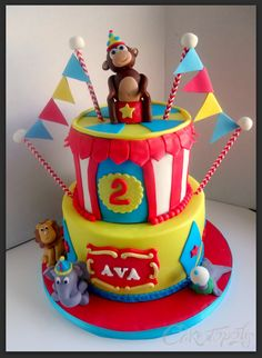 Circus Cake, it's so cute! Birthday Sweets, 1st Birthday Cakes, Circus Birthday, Birthday Parties, Circus Party, Circus Cakes, Clem, Cake Creations, Cakes And More
