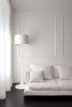 Luxuriate in the Living Room. White walls, dark floors, and boiserie wall moulding. White Floor Lamp, Modern Floor Lamps, Black Floor, Modern Lighting, Lighting Ideas, Ikea Floor Lamp, Lighting Design, Black And White Interior, Monochrome Interior