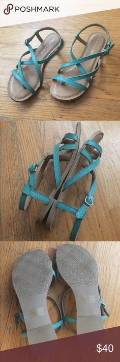 New Franco Sarto Sandals Turquoise Jinelle sandals. Strapless faux Leather, Adjustable buckle. Franco Sarto Shoes Sandals