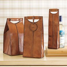 Gump's — Leather Wine Bottle Carriers (Wine Bottle Bag)