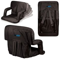Picnic Time Ventura Carolina Panthers Black Patio Sports Chair with Digital Logo