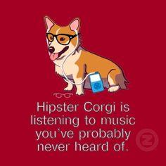 Hipster Corgi Tshirt by guyswithglasses