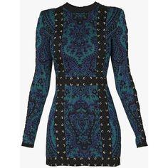 Lace-up knit mini dress | Women's knit dresses | Balmain ($2,685) ❤ liked on Polyvore featuring dresses, balmain, vestidos, laced dress, blue dress, short dresses and knit dress